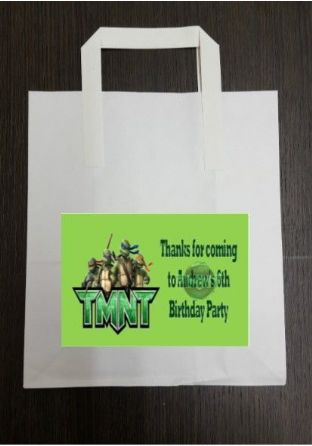4 x Teenage Mutant Ninja Turtles Birthday Party Bags with Personalised Sticker